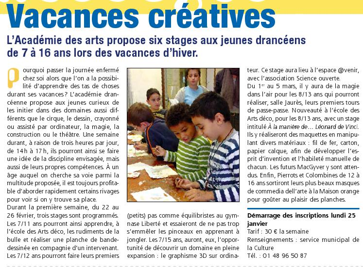 Stage Académie des Arts-article